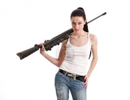Young sexy woman with a sniper rifle.