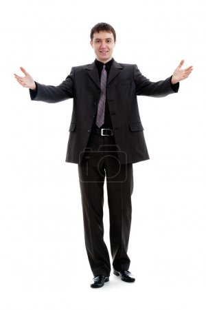 Photo pour Un jeune homme en costume, accueille, isolé sur fond blanc . - image libre de droit