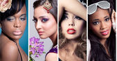 Collage of 4 closeup beauty images of women of different ethnici