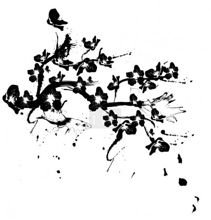 Illustration for Illustration with cherry tree flowers silhouette on white background - Royalty Free Image