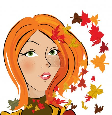 Illustration for Vector autumn girl - Royalty Free Image