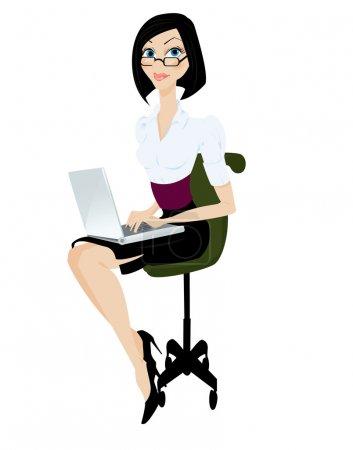 Illustration pour Femme avec illustration vectorielle ordinateur portable - image libre de droit