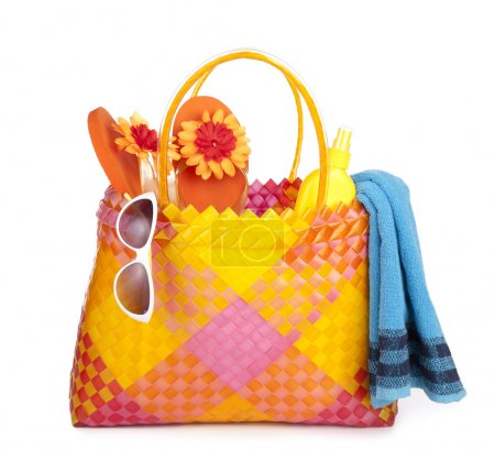 Bag with beach items