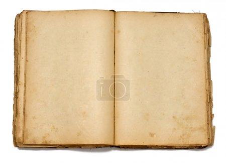 Photo pour Ouvrir vieux livre vintage sur fond blanc - image libre de droit