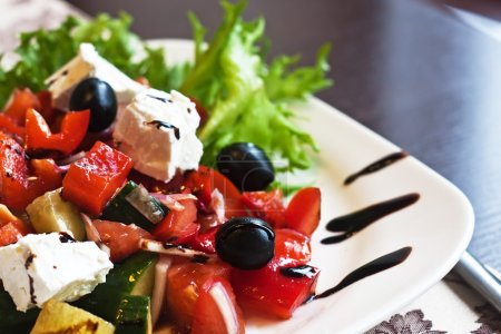 Photo for Greek Mediterranean salad with feta cheese, olives and peppers - Royalty Free Image
