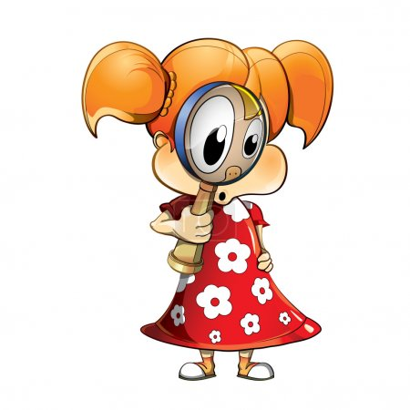Illustration for Cartoon girl with magnifying-glass - Royalty Free Image