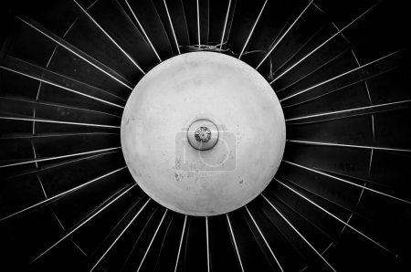 Jet engine closeup in black and white