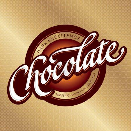 Illustration pour Conception d'emballage de chocolat, logotype de lettrage à la main (vecteur ) - image libre de droit