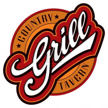 Illustration for 'grill' sign/logo - hand lettering design; scalable and editable vector illustration (eps8); - Royalty Free Image