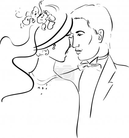 Illustration for Vector Illustration of a Romantic Couple - Royalty Free Image