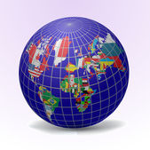 All flags in globe form