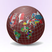 All flags of the world in globe form