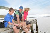 Fishing in lake