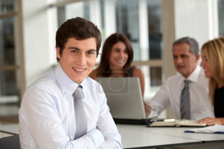 Office worker attending business meeting