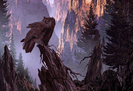 Photo pour Un Grand-duc d'Amérique perché sur un tronc de pin dans un canyon de montagne . - image libre de droit