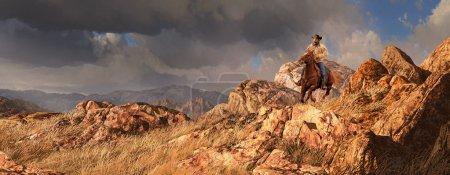 Photo pour Une scène d'ouest vieux d'un cow-boy monté sur son cheval, avec une pluie torrentielle hors au loin. - image libre de droit