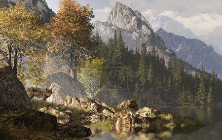 Photo pour Loup près d'un lac dans un paysage des montagnes Rocheuses . - image libre de droit