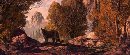 Photo pour Cougar dans un paysage des montagnes Rocheuses . - image libre de droit