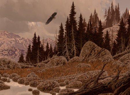 Photo pour Une scène de paysage des montagnes Rocheuses avec un aigle chauve planant . - image libre de droit
