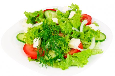 Photo for Fresh salad with cheese, cucumber, tomato, lattuce and dill - Royalty Free Image