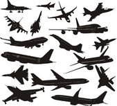 Set of silhouettes of aircraft