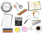 Egy óra, számológép és néhány irodaszerek. vektor