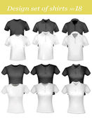 Black and white men and women polo shirts and t-shirts Vector
