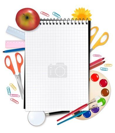 Illustration pour Je retourne à l'école. Bloc-notes avec fournitures. Vecteur . - image libre de droit