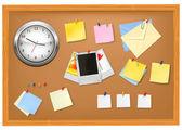 Brown blackboard with office supplies Vector