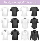 černá a bílá trička. fotorealistické vektorové ilustrace