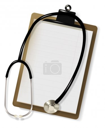 Stethoscope and blank clipboard. Vector.