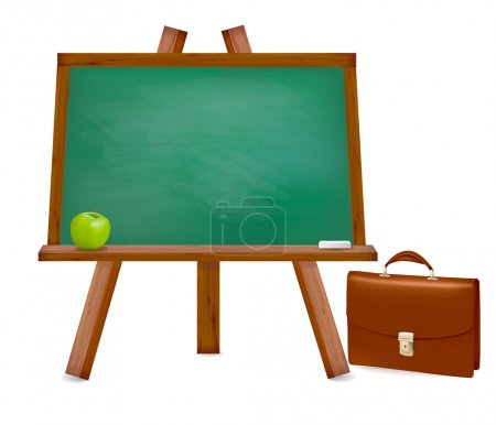 Back to school.Green board with easel with text. Vector illustration.