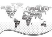 World news concept Abstract world map made from World news words Vector