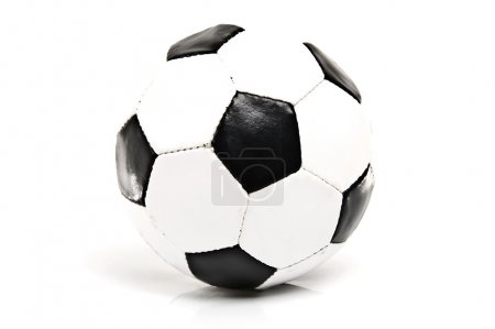 Photo for Detail of black and white soccer ball . - Royalty Free Image
