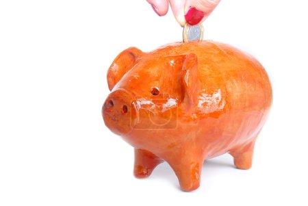 Photo pour Mud Pig Bank pour beaucoup de pièces. . . (Banque des enfants ) - image libre de droit