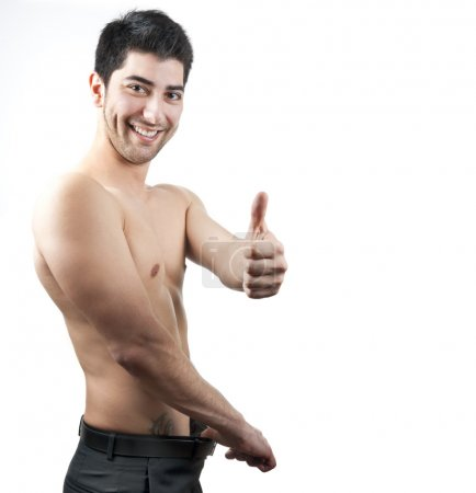 Man happy with his weight and shape