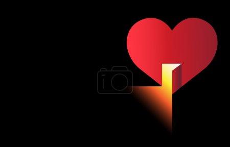 Illustration pour Une illustration simple mais forte avec un cœur rouge avec une porte ouverte à travers laquelle la lumière sort - image libre de droit