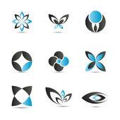 9 pieced of elegant and modern blue logo elements set