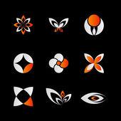 9 pieced of elegant and modern orange logo elements set
