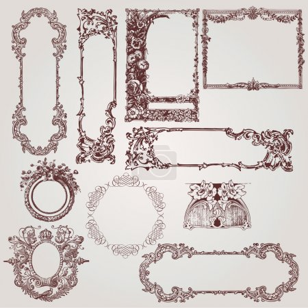 Illustration for A collection of beautiful antique victorian, baroque frames and design elements - Royalty Free Image
