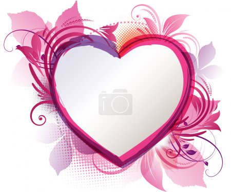 Illustration for Vector art of a pink floral heart background with copy space - Royalty Free Image
