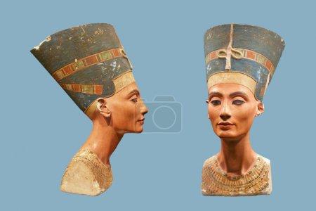 Bust of Nefertiti isolated on blue
