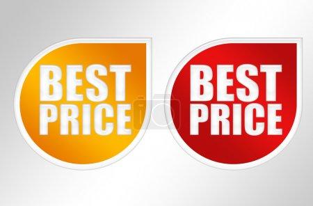 Photo pour Étiquettes orange et rouge meilleur prix sur fond gris - image libre de droit
