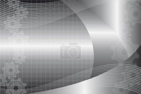 Illustration pour Argent et blanc vague et engrenages fond des affaires. vecteur - image libre de droit