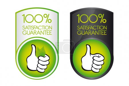 Illustration for Green 100 satisfaction guarantee with thumb up over white background. vector - Royalty Free Image