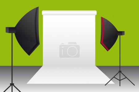 Illustration pour Vert, noir, blanc, rouge fond studio de photographie. vecteur - image libre de droit