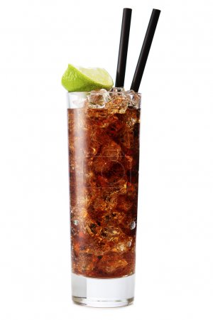 Photo for Cuba libre cocktail isolation on a white - Royalty Free Image