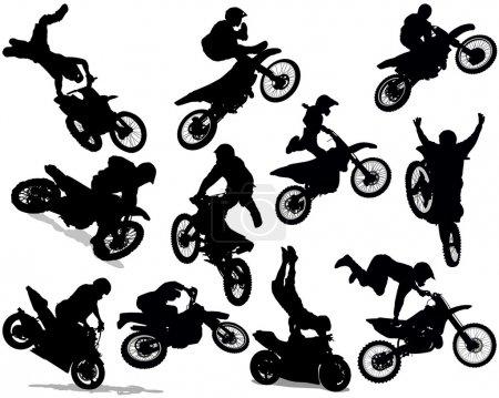 Motorcycle stunt silhouette set