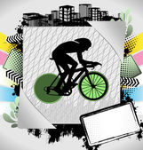 Abstract summer frame with cyclist silhouette