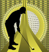 Vintage background design with golfer silhouette Vector illustr